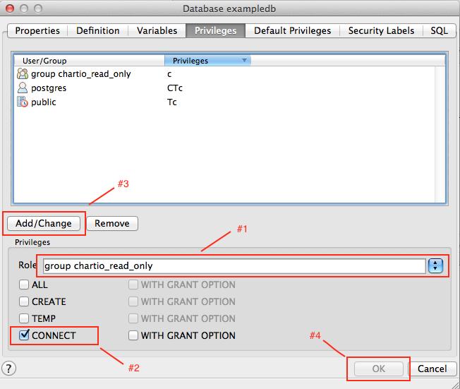Chartio FAQs: Creating a user with pgAdmin
